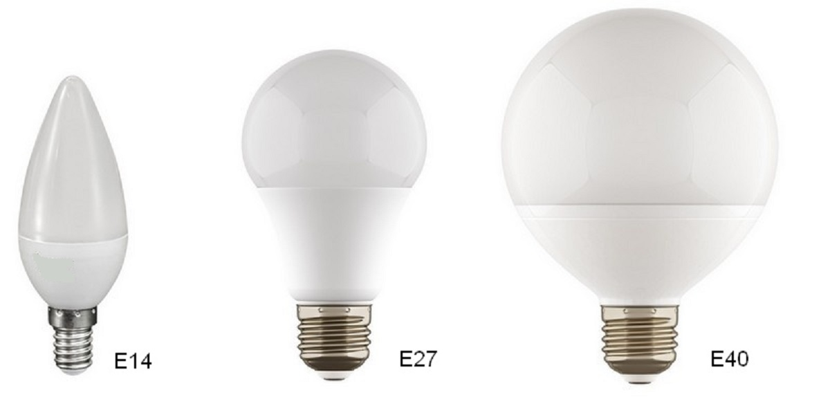 Цоколи ламп Е14, Е27 и Е40